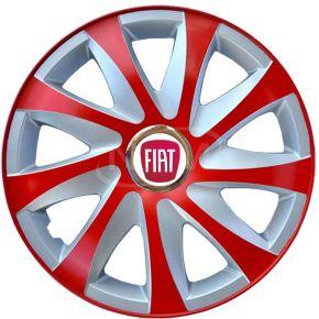 """Wieldoppen voor FIAT 15"""", DRIFT EXTRA rood-zilver 4 stuks"""