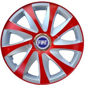 """Wieldoppen voor FIAT 14"""", DRIFT EXTRA rood-zilver 4 stuks"""