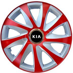 """Wieldoppen voor KIA 15"""", DRIFT EXTRA rood-zilver 4 stuks"""