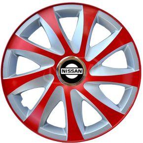 """Wieldoppen voor NISSAN 14"""", DRIFT EXTRA rood-zilver 4 stuks"""