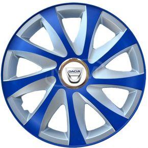 "Wieldoppen voor DACIA 15"", DRIFT EXTRA blue-silver  4 stuks"