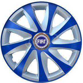 """Wieldoppen voor FIAT 14"""", DRIFT EXTRA blue-silver  4 stuks"""