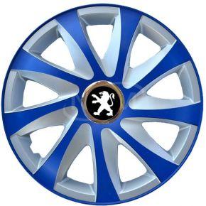 "Wieldoppen voor PEUGEOT 15"", DRIFT EXTRA blue-silver  4 stuks"