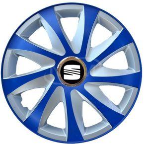 "Wieldoppen voor SEAT 15"", DRIFT EXTRA blue-silver  4 stuks"