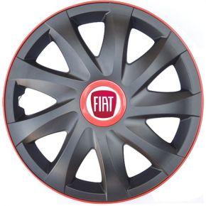 """Wieldoppen voor FIAT 15"""", KANDO RACE rood 4 stuks"""