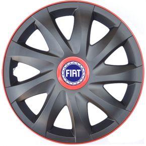 """Wieldoppen voor FIAT 16"""", KANDO RACE rood 4 stuks"""