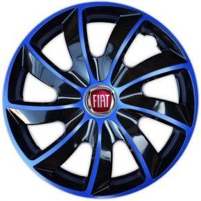 """Wieldoppen FIAT 16"""", QUAD BICOLOR blauw 4 stuks"""
