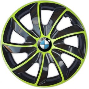 """Wieldoppen BMW 14"""", QUAD BICOLOR groen 4 stuks"""