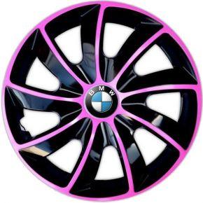 """Wieldoppen BMW 14"""", QUAD BICOLOR pink 4 stuks"""