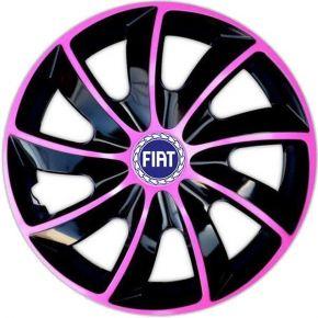 "Wieldoppen FIAT BLUE 14"", QUAD BICOLOR pink 4 stuks"