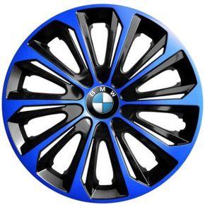 """Wieldoppen BMW 15"""", STRONG DUOCOLOR blauw-zwart 4 stuks"""