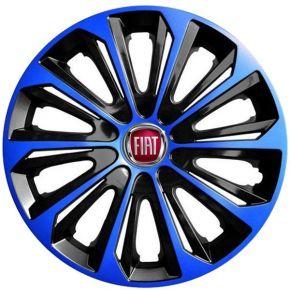 """Wieldoppen FIAT 15"""", STRONG DUOCOLOR blauw-zwart 4 stuks"""