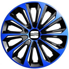 """Wieldoppen SEAT 15"""", STRONG DUOCOLOR blauw-zwart 4 stuks"""