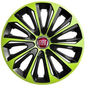 """Wieldoppen FIAT 15"""", STRONG DUOCOLOR groen-zwart 4 stuks"""