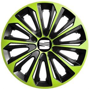 """Wieldoppen SEAT 15"""", STRONG DUOCOLOR groen-zwart 4 stuks"""