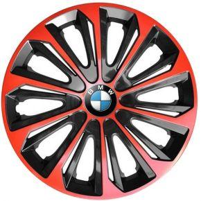 """Wieldoppen BMW 15"""", STRONG DUOCOLOR Rood-Zwart 4 stuks"""