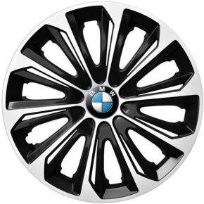 """Wieldoppen BMW 15"""", STRONG DUOCOLOR zwart en wit 4 stuks"""